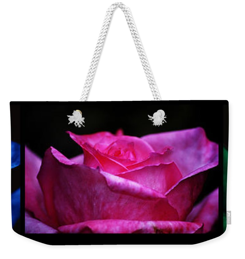 Clay Weekender Tote Bag featuring the photograph Rose Tryptich by Clayton Bruster