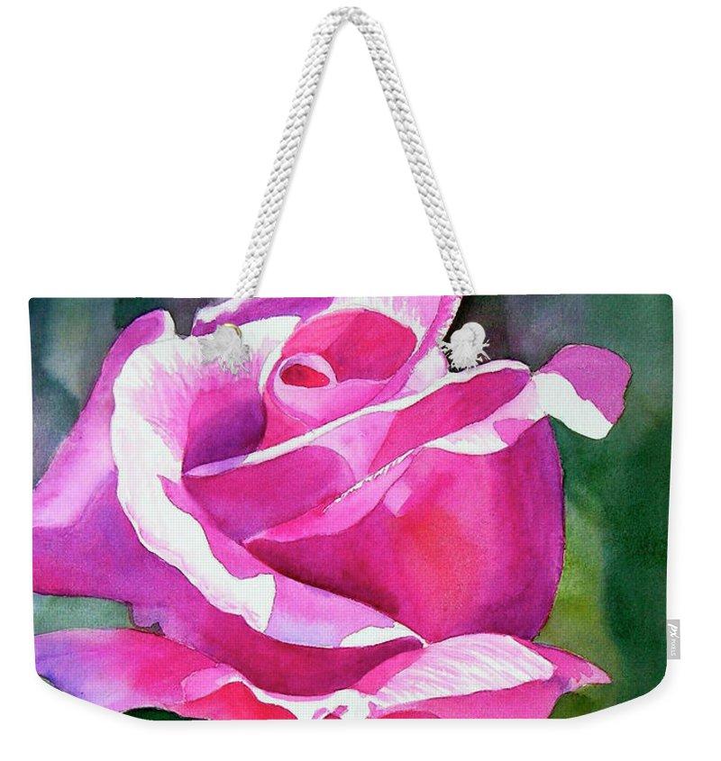 Violet Weekender Tote Bag featuring the painting Rose Violet Bud by Sharon Freeman