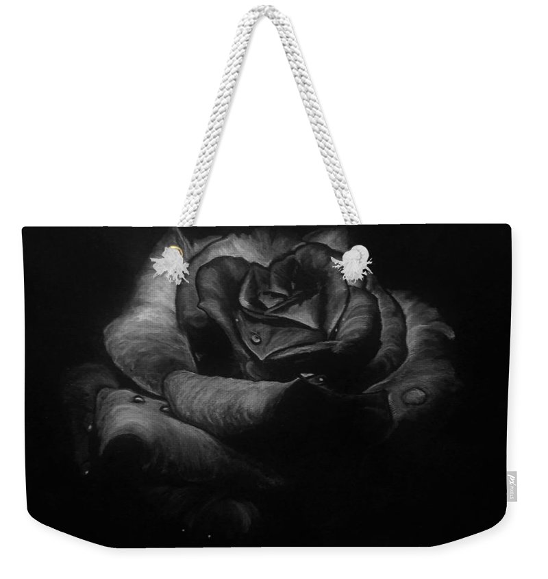 Rose Weekender Tote Bag featuring the drawing Rose by Yana Gifford