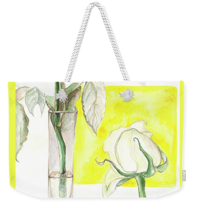 Flower Weekender Tote Bag featuring the painting Rose by Yana Sadykova