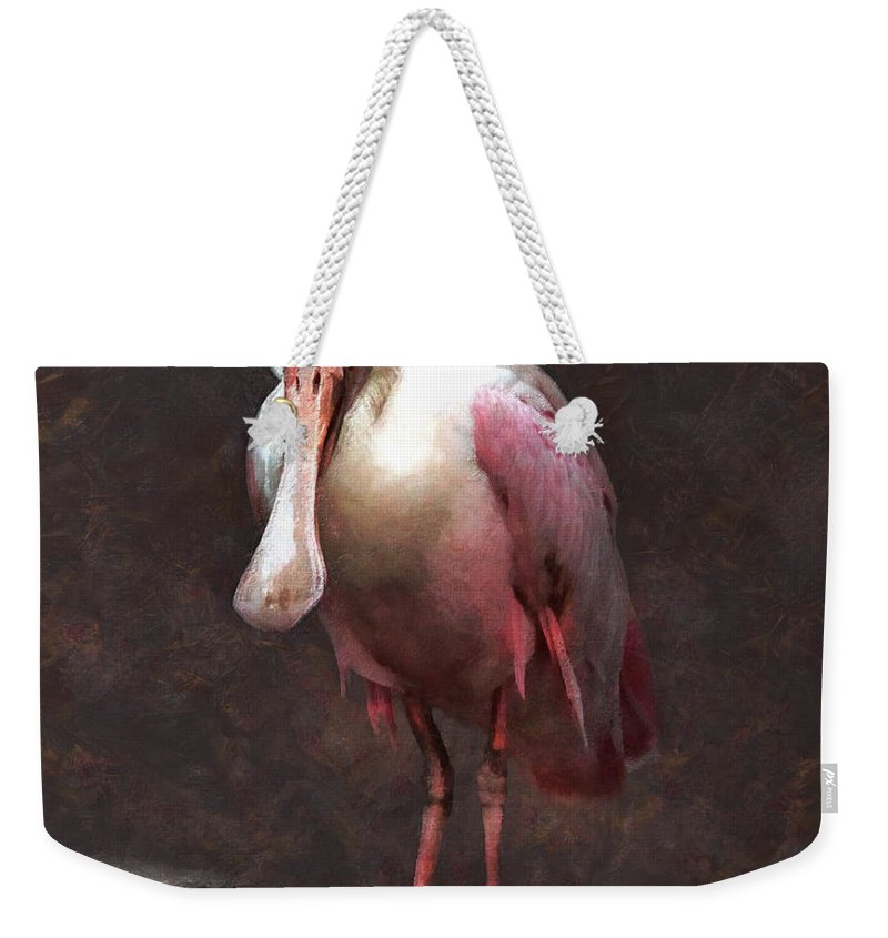 Roseate Spoonbill Weekender Tote Bag featuring the painting Roseate Spoonbill by Sergey Lukashin