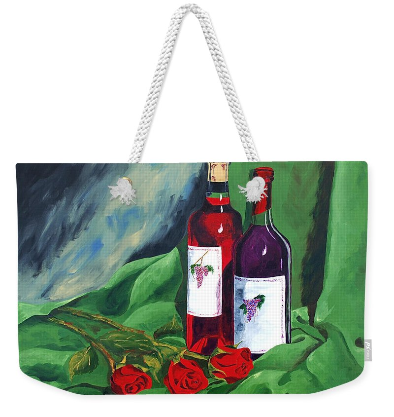 Wine And Roses Red Roses Red Wine Still Life Weekender Tote Bag featuring the painting Roses And Wine by Herschel Fall