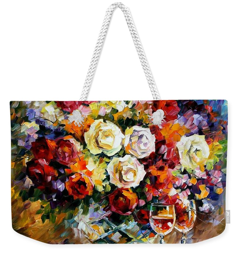 Still Life Weekender Tote Bag featuring the painting Roses And Wine by Leonid Afremov