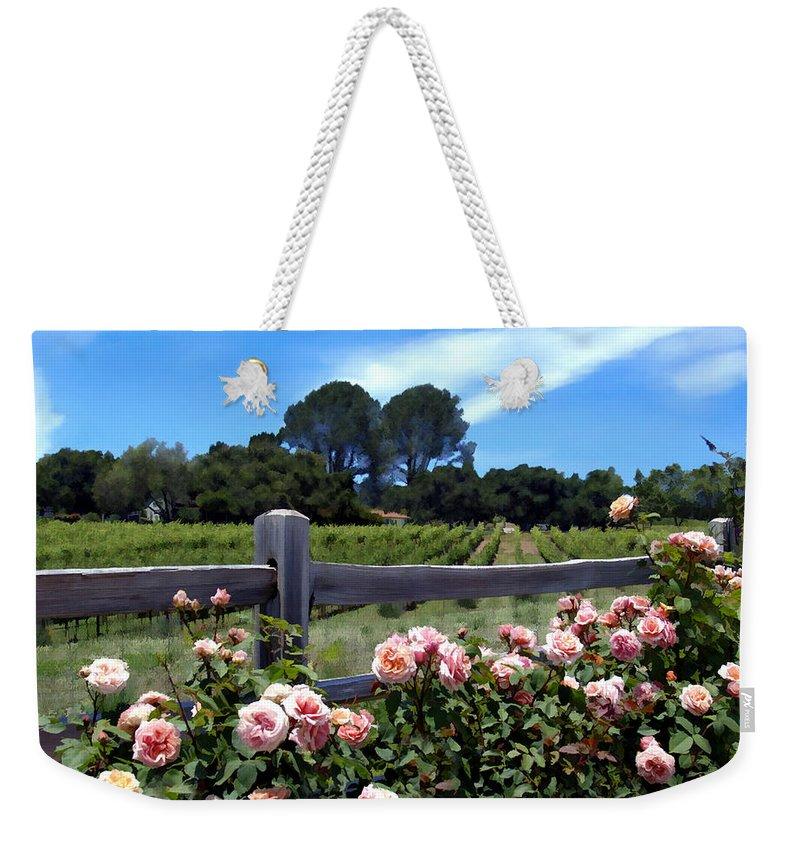 Flowers Weekender Tote Bag featuring the photograph Roses At Rusack Vineyards by Kurt Van Wagner
