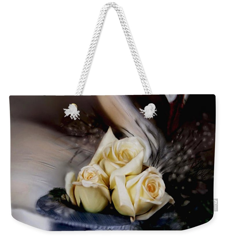 Roses Weekender Tote Bag featuring the painting roses for Susan by Bonnie Willis