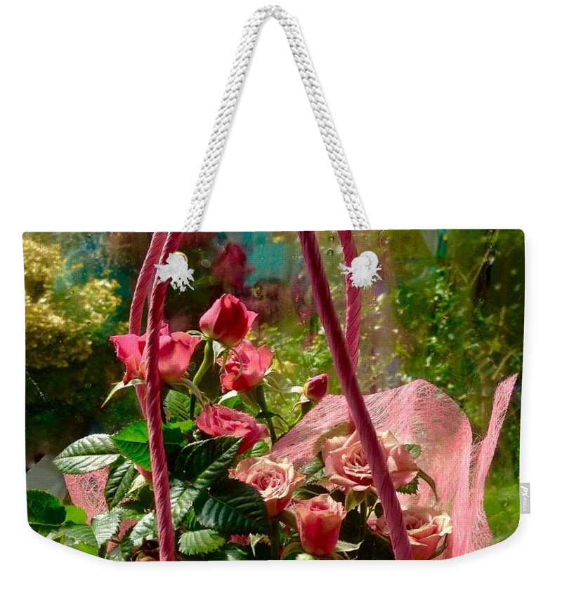 Miniature Roses Weekender Tote Bag featuring the photograph Roses Gift Bag by Joan-Violet Stretch