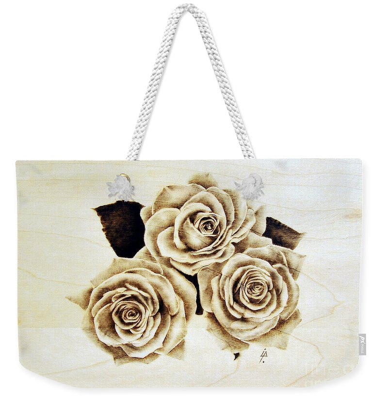 Pyrography Weekender Tote Bag featuring the pyrography Roses by Ilaria Andreucci