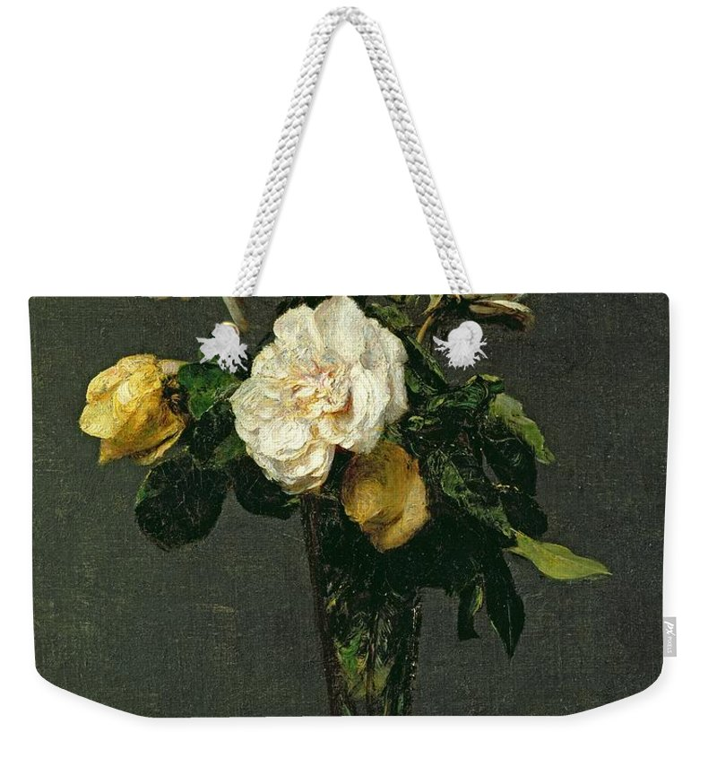 Roses Weekender Tote Bag featuring the painting Roses In A Champagne Flute by Ignace Henri Jean Fantin-Latour