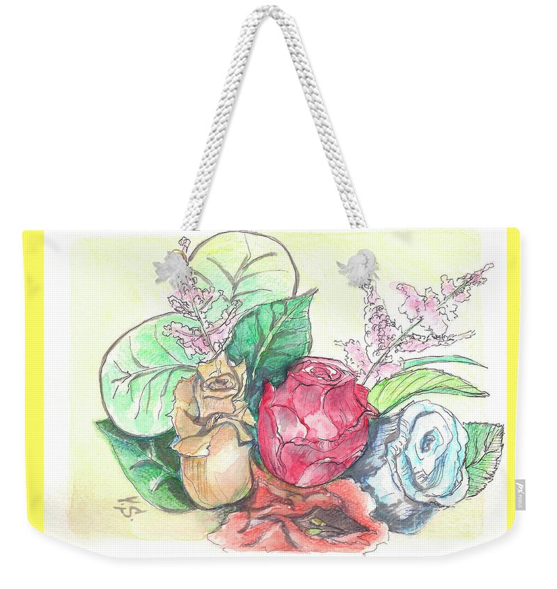 Roses Weekender Tote Bag featuring the painting Roses On A Birthday by Yana Sadykova