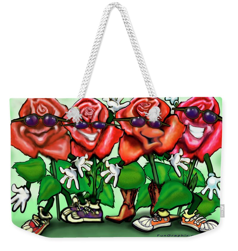 Rose Weekender Tote Bag featuring the painting Roses Party by Kevin Middleton