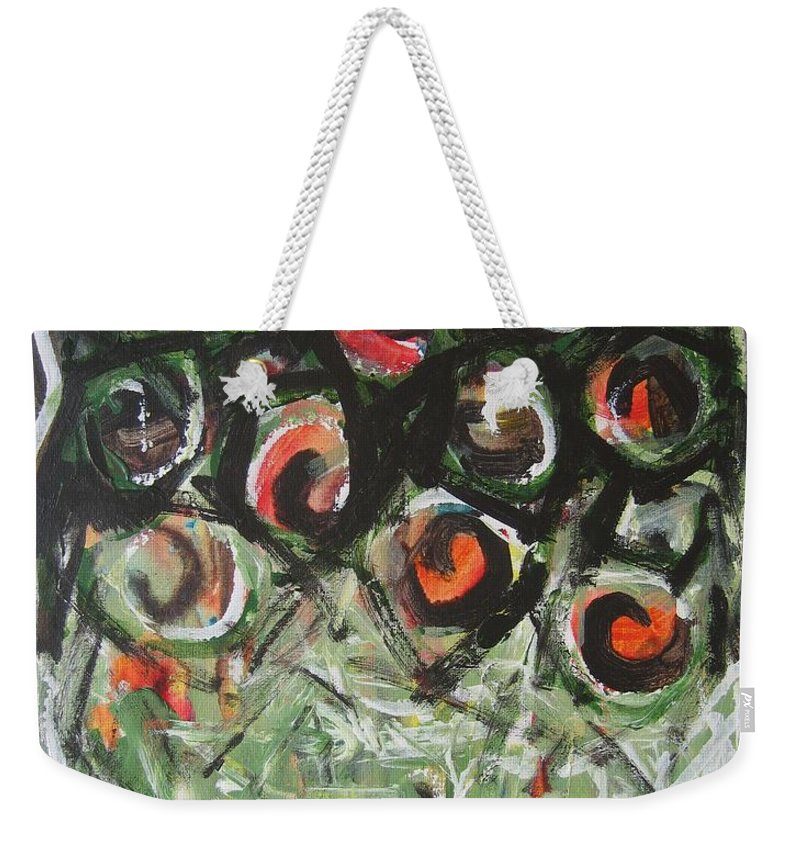 Abstract Painting Weekender Tote Bag featuring the painting Roses by Seon-Jeong Kim