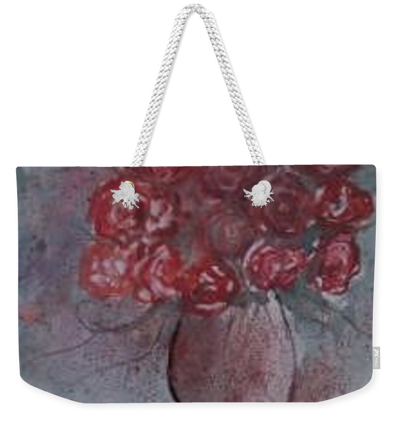 Watercolor Weekender Tote Bag featuring the painting ROSES still life watercolor floral painting poster print by Derek Mccrea