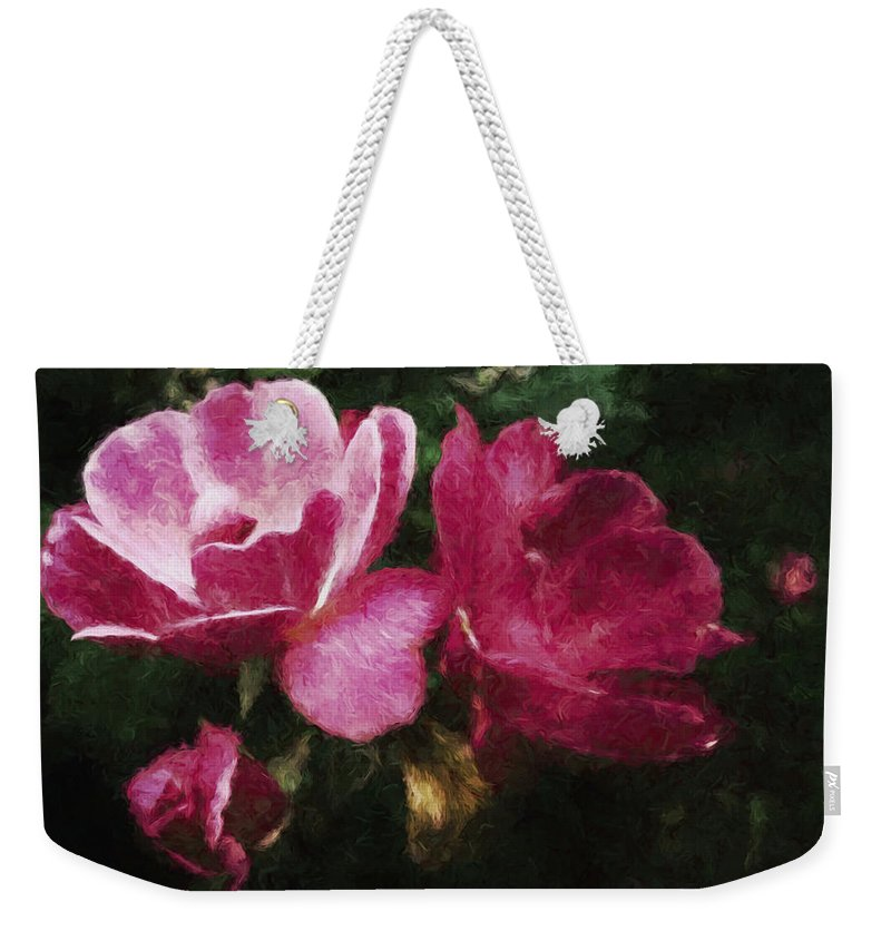 Roses Weekender Tote Bag featuring the mixed media Roses With Texture by Debra Lynch