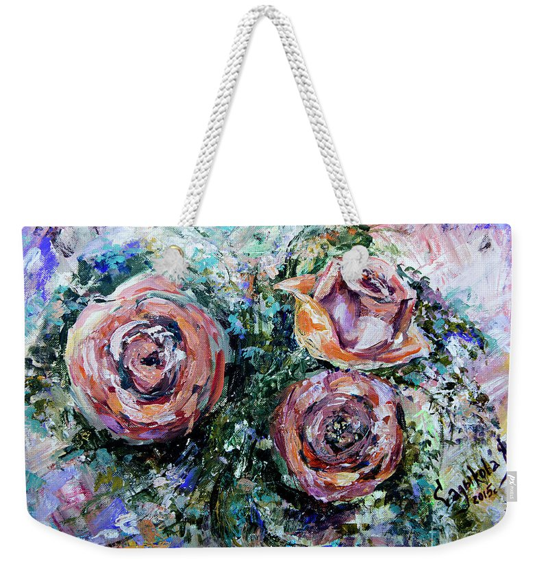 Roses Weekender Tote Bag featuring the painting Roses by Yana Sadykova