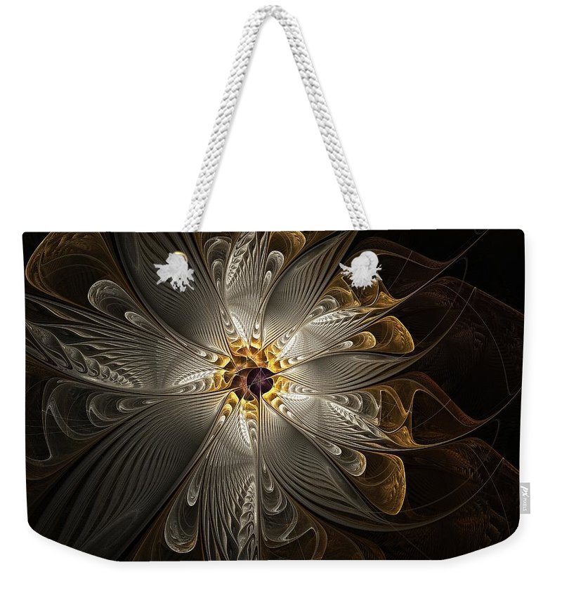Digital Art Weekender Tote Bag featuring the digital art Rosette In Gold And Silver by Amanda Moore