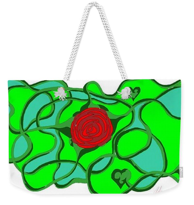 Digital Weekender Tote Bag featuring the digital art Roseybud by Adam Norman