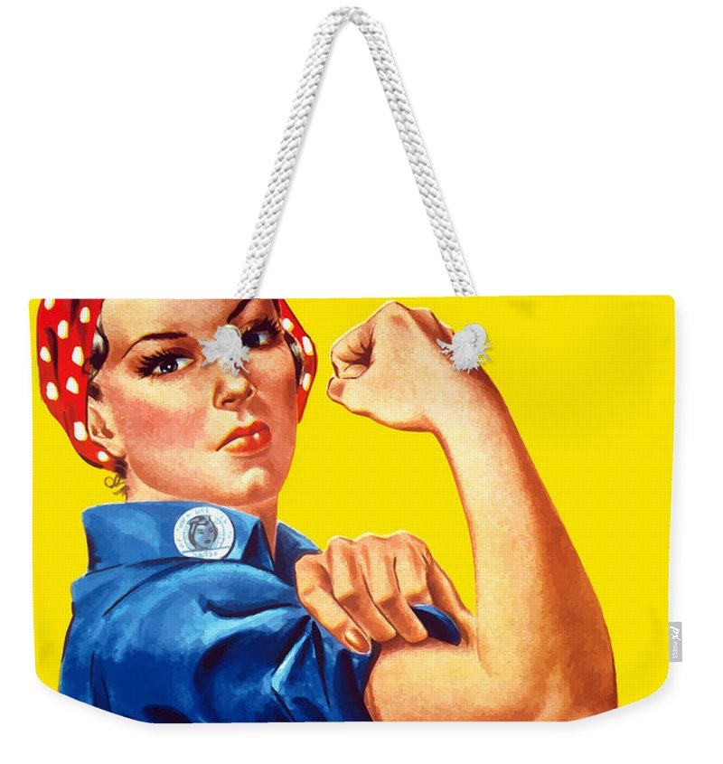 Rosie The Riveter Weekender Tote Bag featuring the painting Rosie The Rivetor by War Is Hell Store