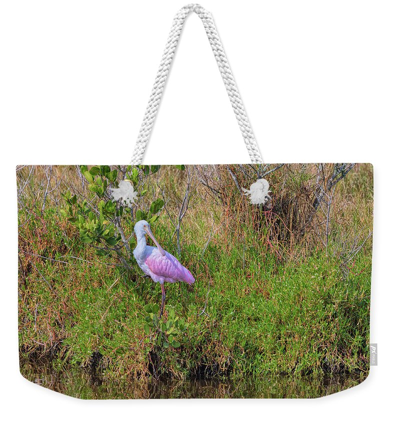 Birds Weekender Tote Bag featuring the photograph Rosie The Spoonbill by John M Bailey