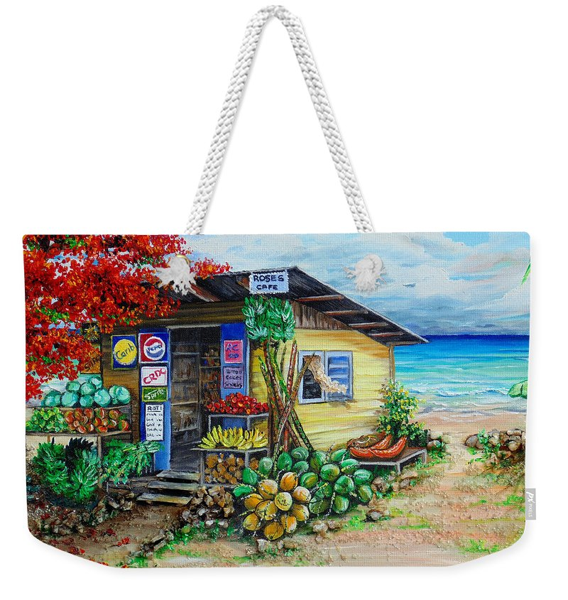 Beach Cafe Weekender Tote Bag featuring the painting Rosies Beach Cafe by Karin Dawn Kelshall- Best