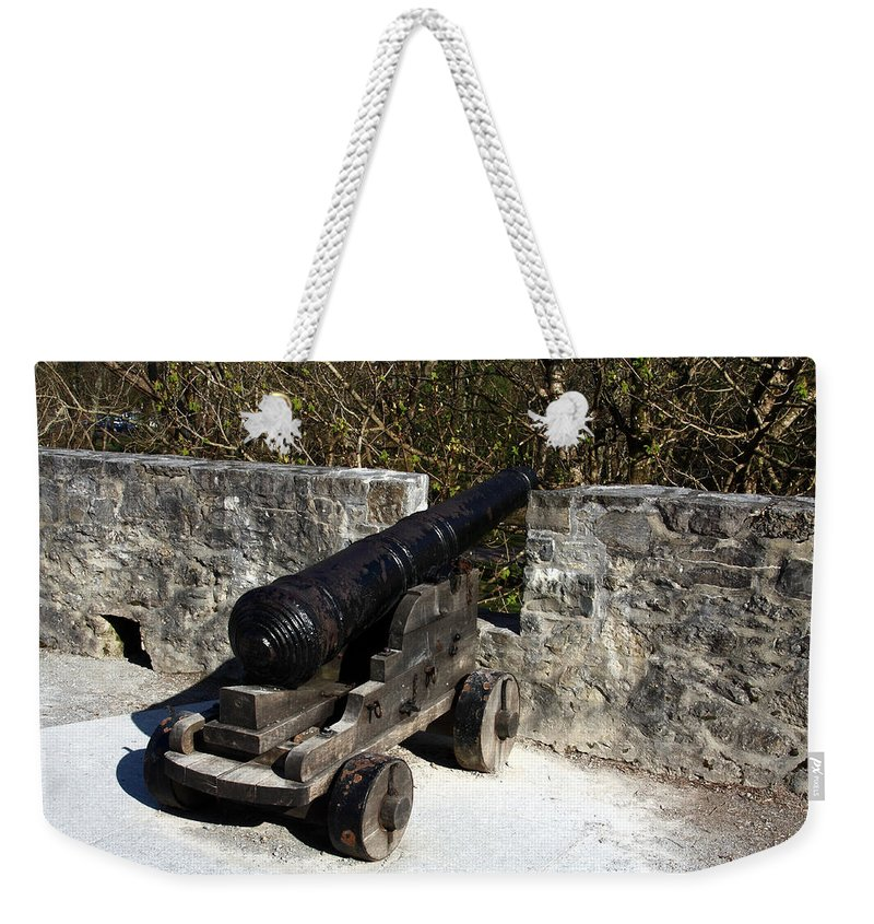 Castle Weekender Tote Bag featuring the photograph Ross Castle Canon by Aidan Moran