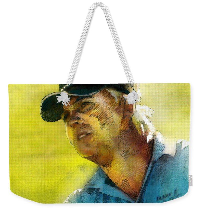 Golf Painting Portrait Ross Mcgowan Weekender Tote Bag featuring the painting Ross Mcgowan In The Madrid Masters by Miki De Goodaboom