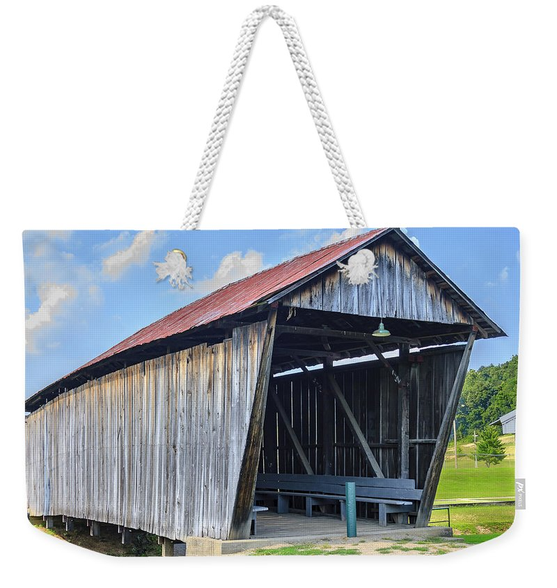 America Weekender Tote Bag featuring the photograph Rosseeau/fairgrounds Covered Bridge by Jack R Perry