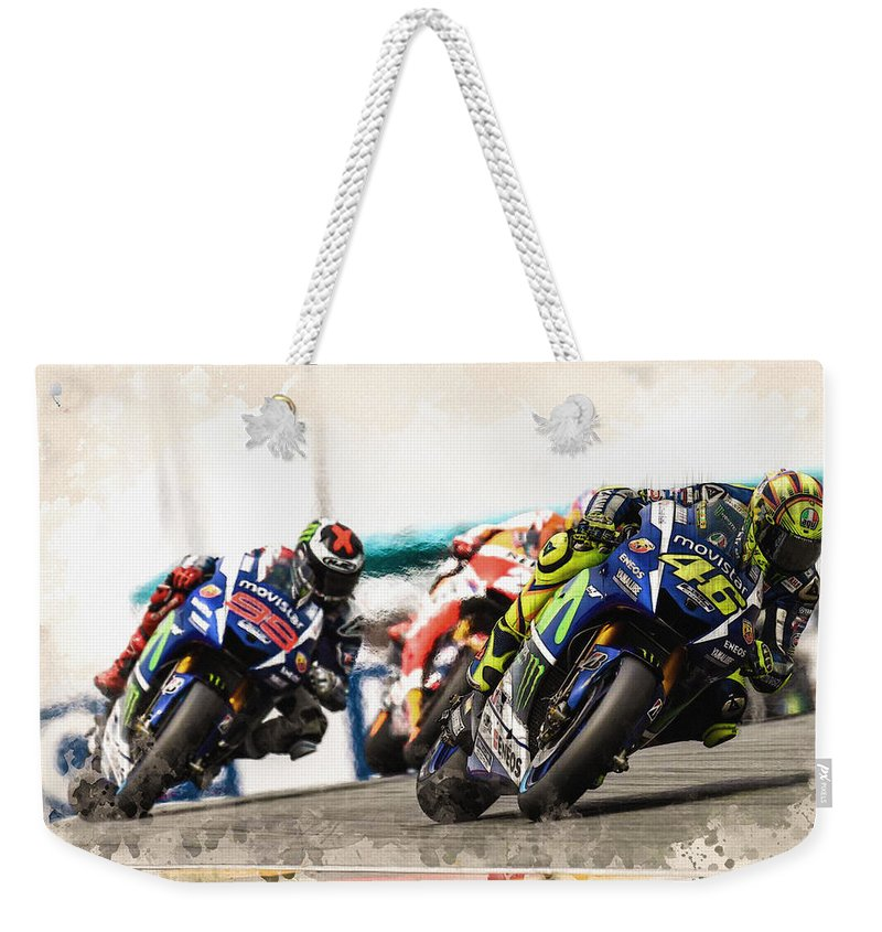 Formula 1 Weekender Tote Bag featuring the digital art Rossi Leading The Pack by Don Kuing