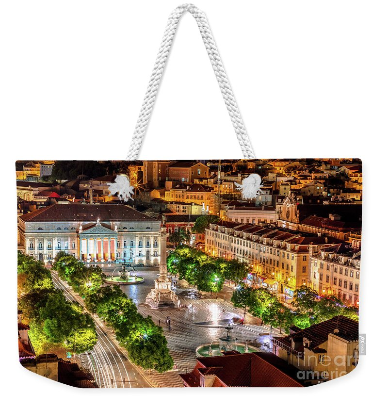 Lisbon Weekender Tote Bag featuring the photograph Rossio Square Night by Benny Marty