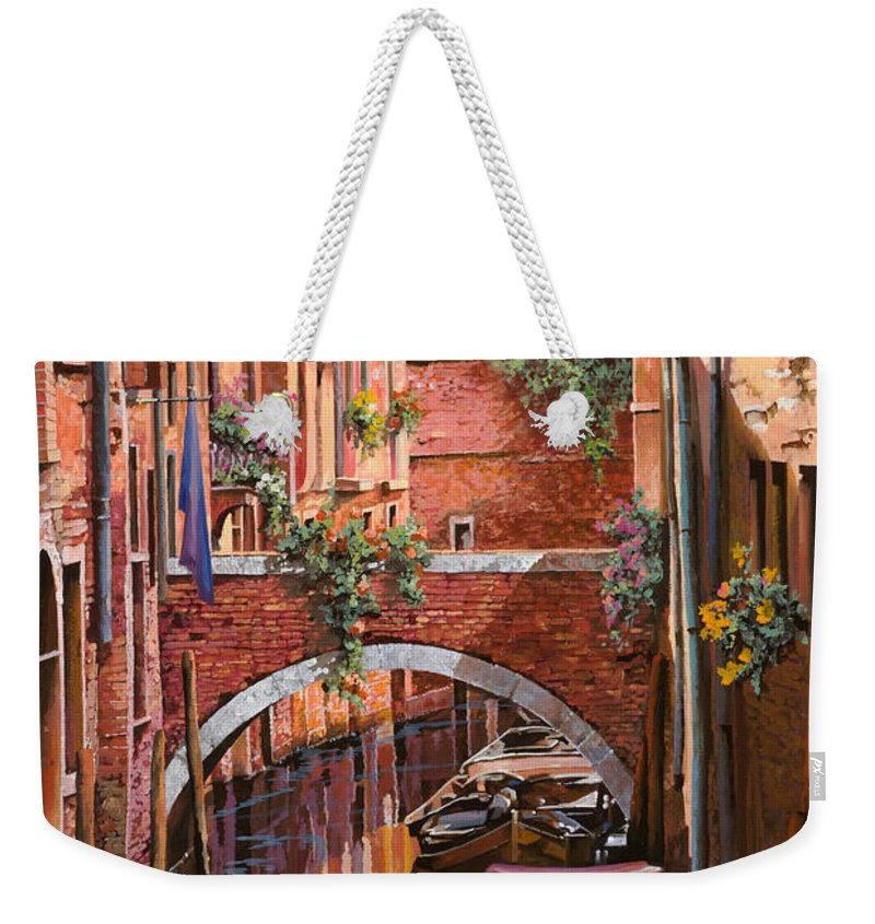 Venice Weekender Tote Bag featuring the painting Rosso Veneziano by Guido Borelli