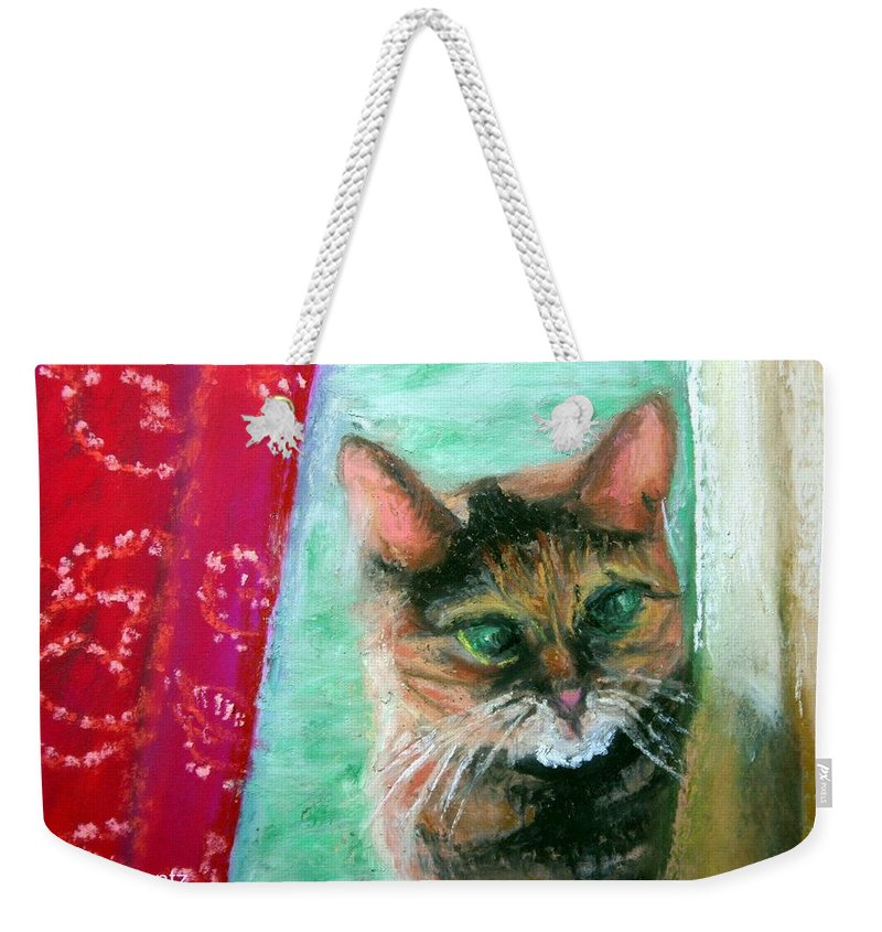 Cat Weekender Tote Bag featuring the painting Rosy In Color Close-up by Minaz Jantz