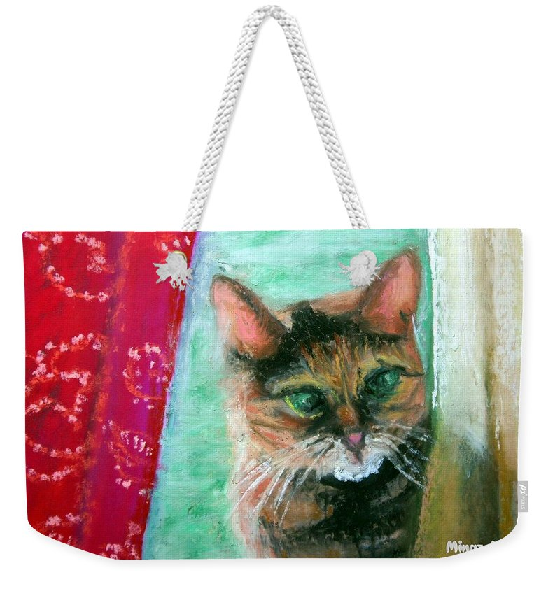 Cat Weekender Tote Bag featuring the painting Rosy in Color by Minaz Jantz