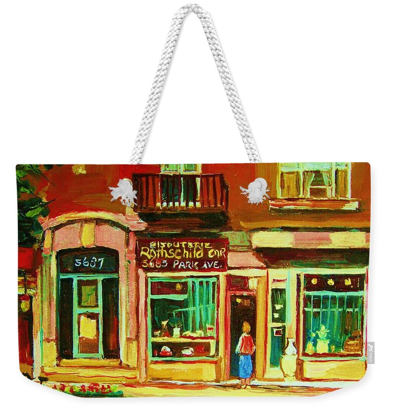 Montreal Weekender Tote Bag featuring the painting Rothchilds Jewellers On Park Avenue by Carole Spandau