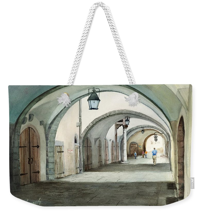 Germany Weekender Tote Bag featuring the painting Rothenburg Backstreet by Sam Sidders