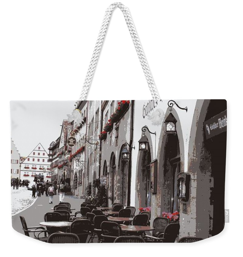 Rothenburg Weekender Tote Bag featuring the photograph Rothenburg Cafe - Digital by Carol Groenen