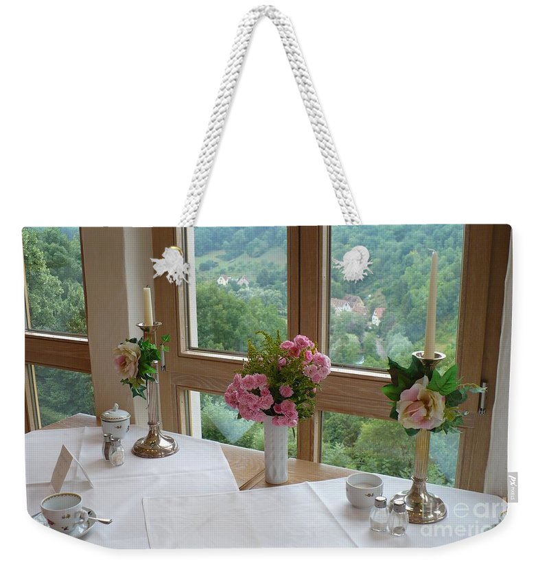 Rothenburg Weekender Tote Bag featuring the photograph Rothenburg Dining With A View by Carol Groenen
