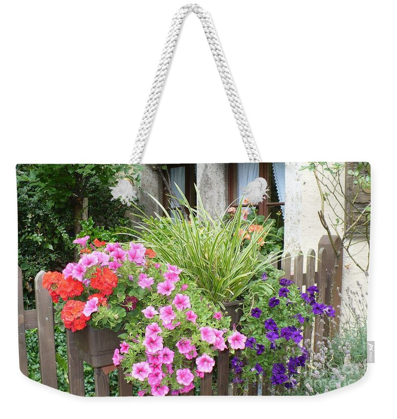 Garden Weekender Tote Bag featuring the photograph Rothenburg Flower Box by Carol Groenen