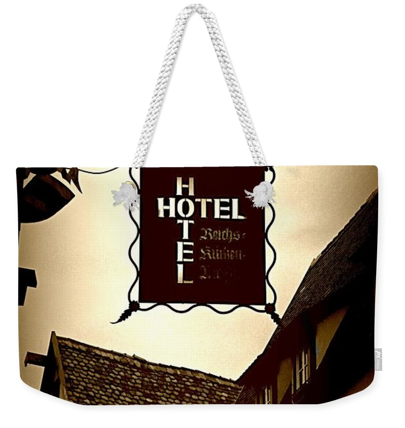 Hotel Sign Weekender Tote Bag featuring the photograph Rothenburg Hotel Sign - Digital by Carol Groenen