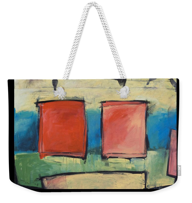 Rothko Weekender Tote Bag featuring the painting Rothko Meets Hitchcock - Poster by Tim Nyberg