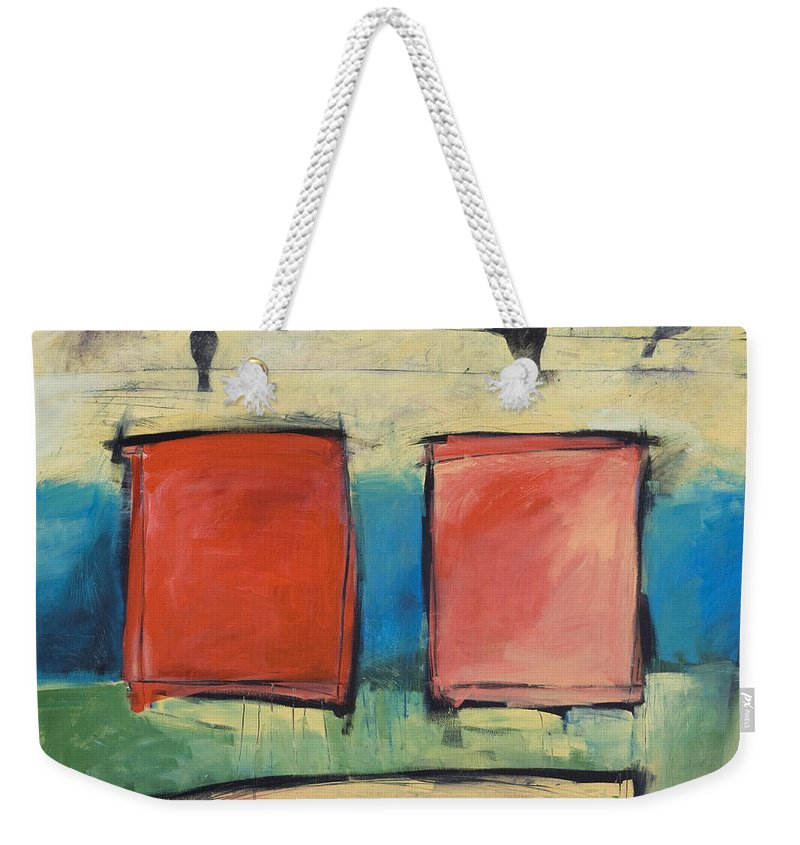 Rothko Weekender Tote Bag featuring the painting Rothko Meets Hitchcock by Tim Nyberg