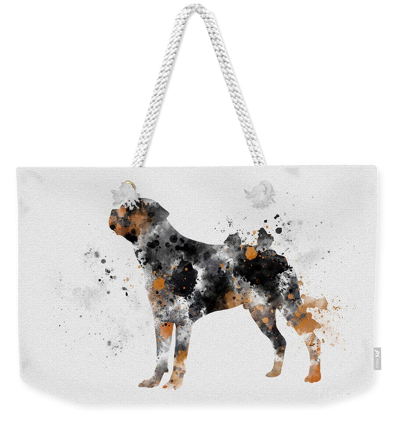 Dog Weekender Tote Bag featuring the mixed media Rottweiler by Rebecca Jenkins