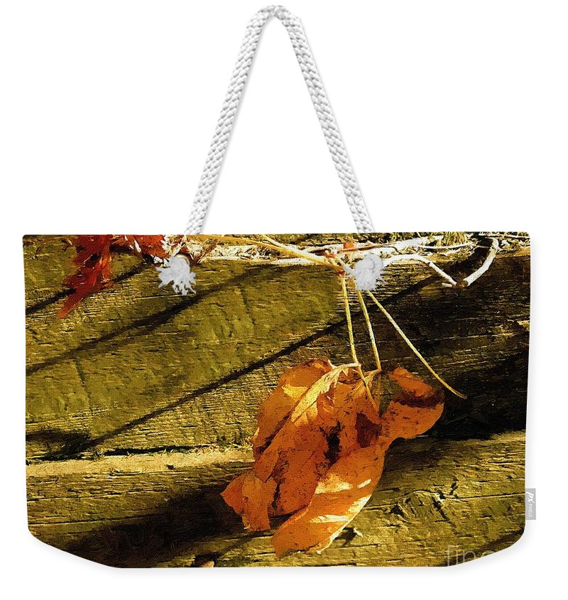 Autumn Weekender Tote Bag featuring the painting Rough-cut Wall by RC DeWinter