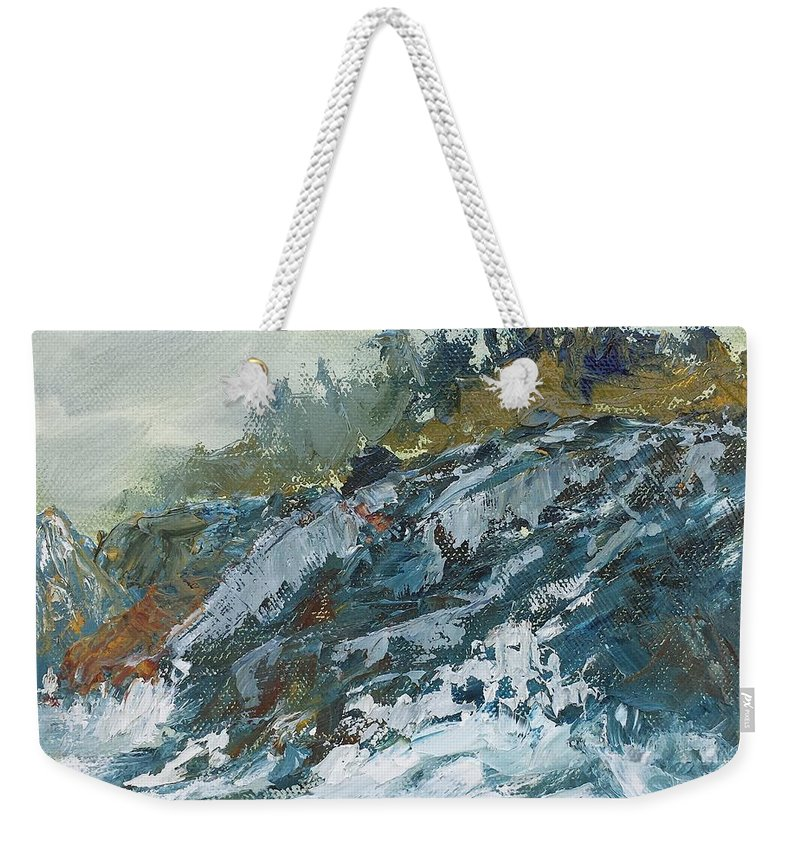 Surf Weekender Tote Bag featuring the painting Rough by Susan Hanna