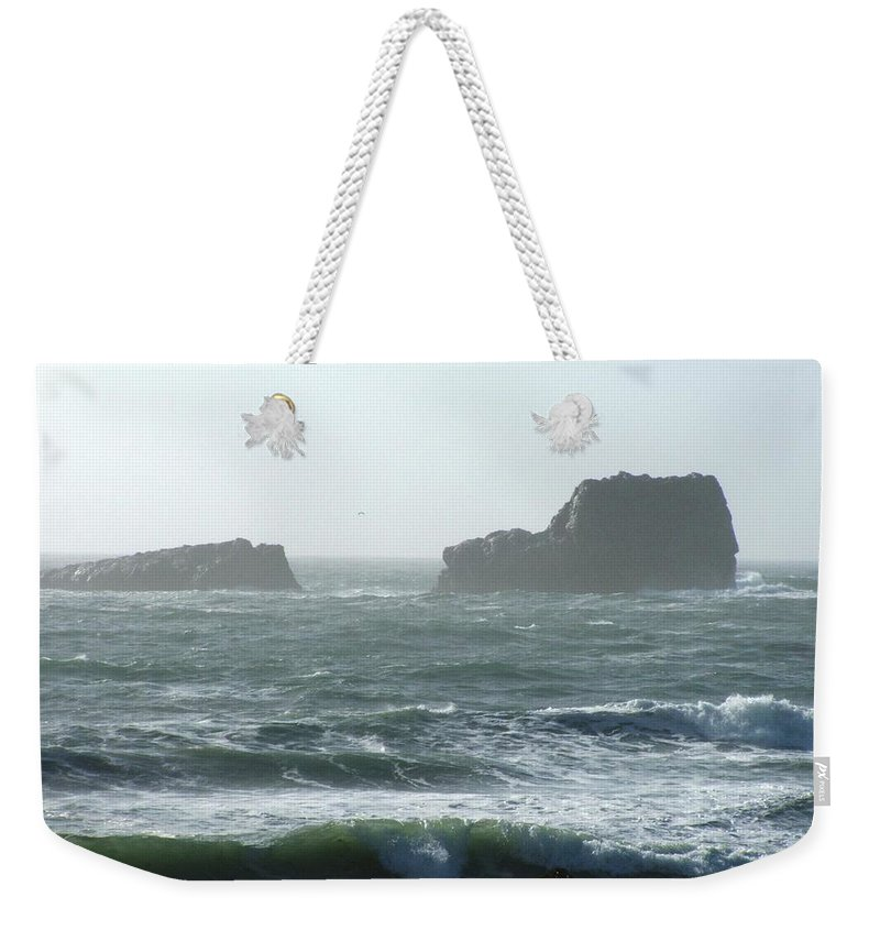 Oceanes Weekender Tote Bag featuring the photograph Rough Waters by Shari Chavira