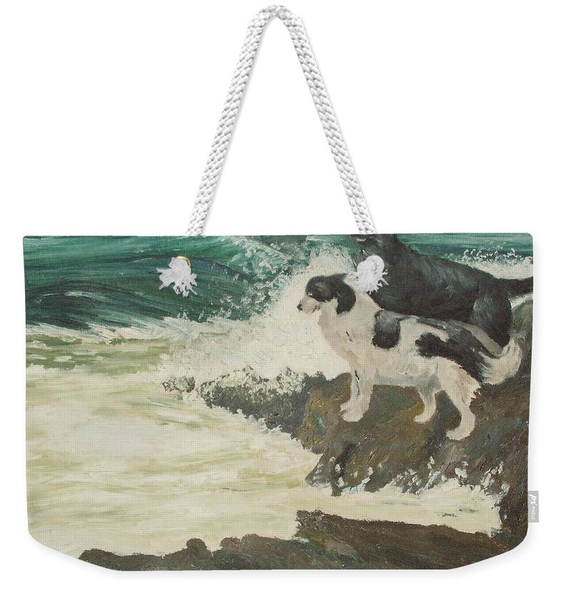 Wild Sea Weekender Tote Bag featuring the painting Roughsea by Terry Frederick