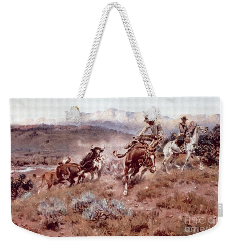 Rancher Weekender Tote Bag featuring the painting Round Up On The Musselshell by Charles Marion Russell