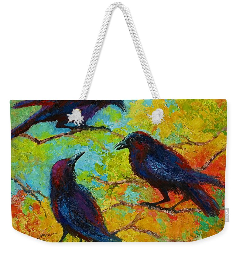 Crows Weekender Tote Bag featuring the painting Roundtable Discussion - Crows by Marion Rose