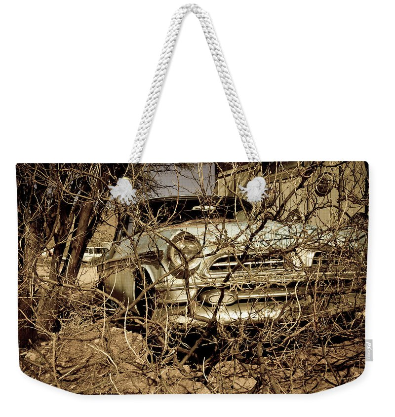 Notice Weekender Tote Bag featuring the photograph Route 66-66 by Avril Christophe