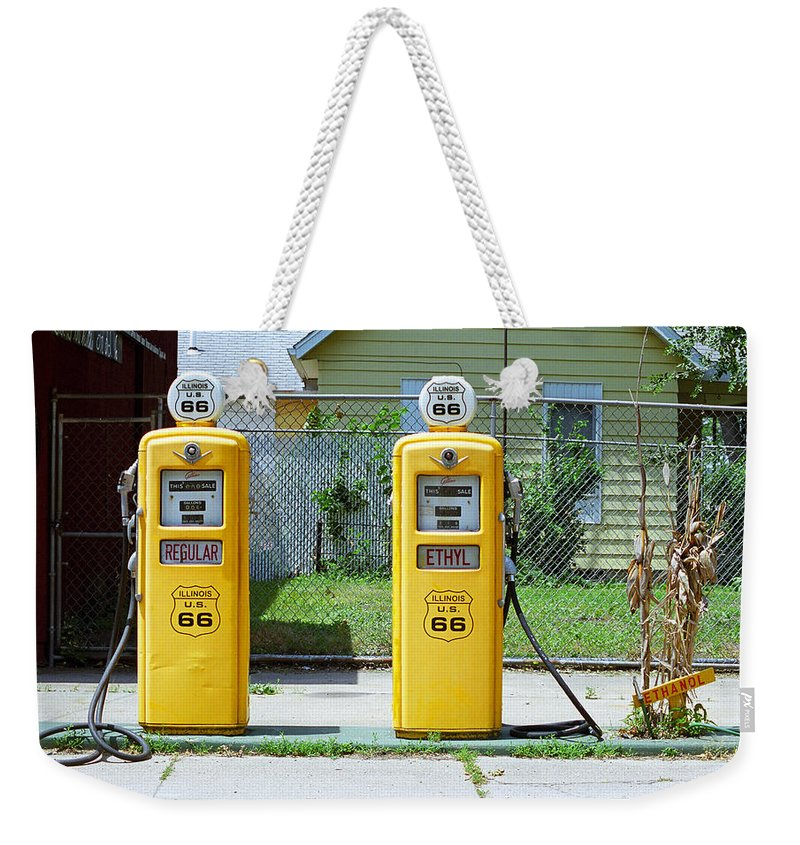 66 Weekender Tote Bag featuring the photograph Route 66 - Illinois Gas Pumps by Frank Romeo
