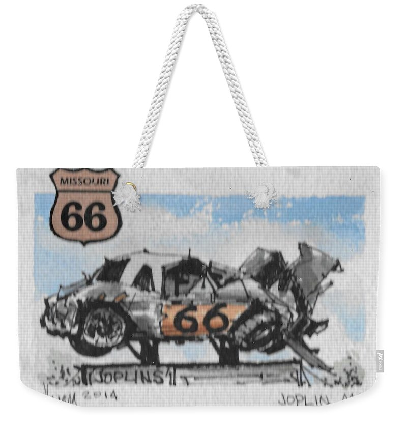 Route 66 Joplin Mo Weekender Tote Bag featuring the drawing Route 66 Mo by Jim Hamm