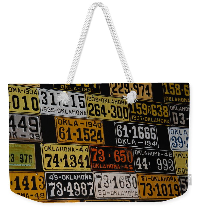 Route 66 Weekender Tote Bag featuring the photograph Route 66 Oklahoma Car Tags by Susanne Van Hulst